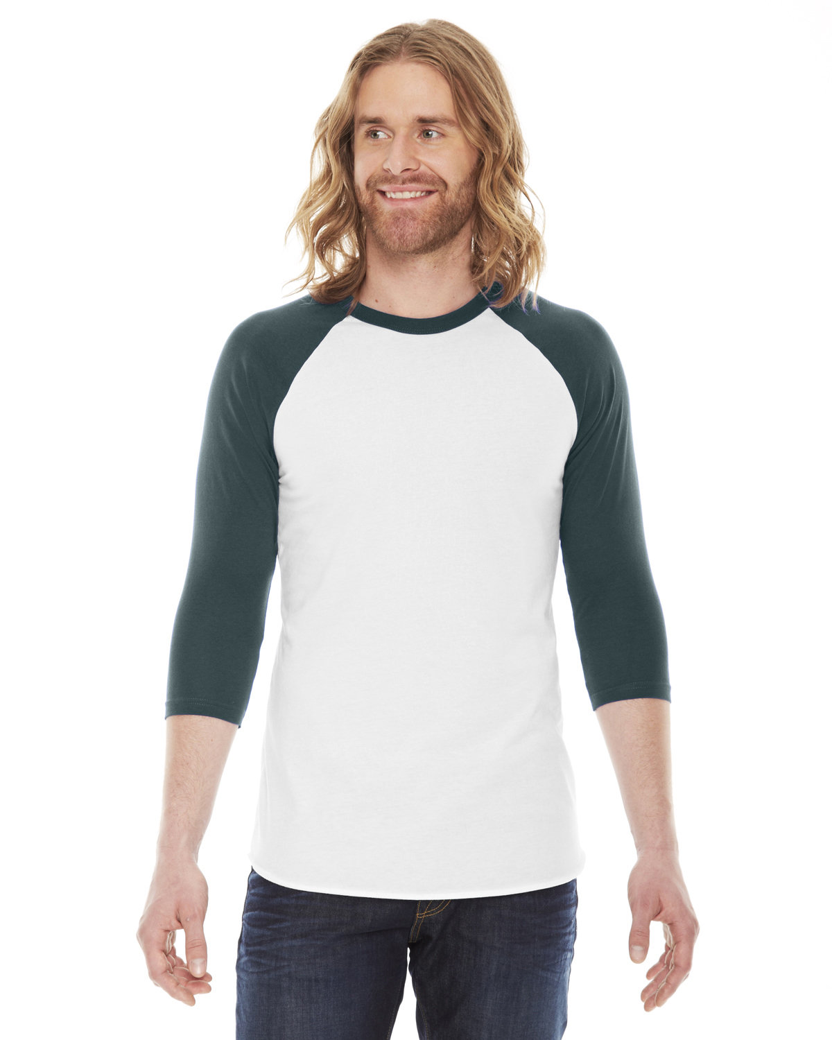 American Apparel Unisex Poly-Cotton 3/4-Sleeve Raglan T-Shirt WHITE/ FOREST