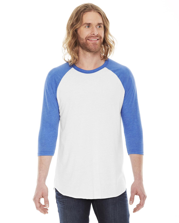 American Apparel Unisex Poly-Cotton 3/4-Sleeve Raglan T-Shirt WHT/ HTH LKE BLU