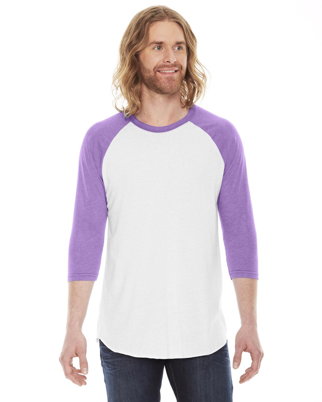 American Apparel Unisex Poly-Cotton 3/4-Sleeve Raglan T-Shirt WHITE/ ORCHID