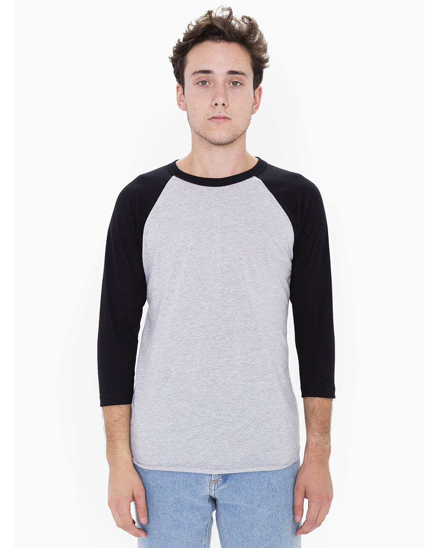 American Apparel Unisex Poly-Cotton 3/4-Sleeve Raglan T-Shirt HTHR GREY/ BLACK