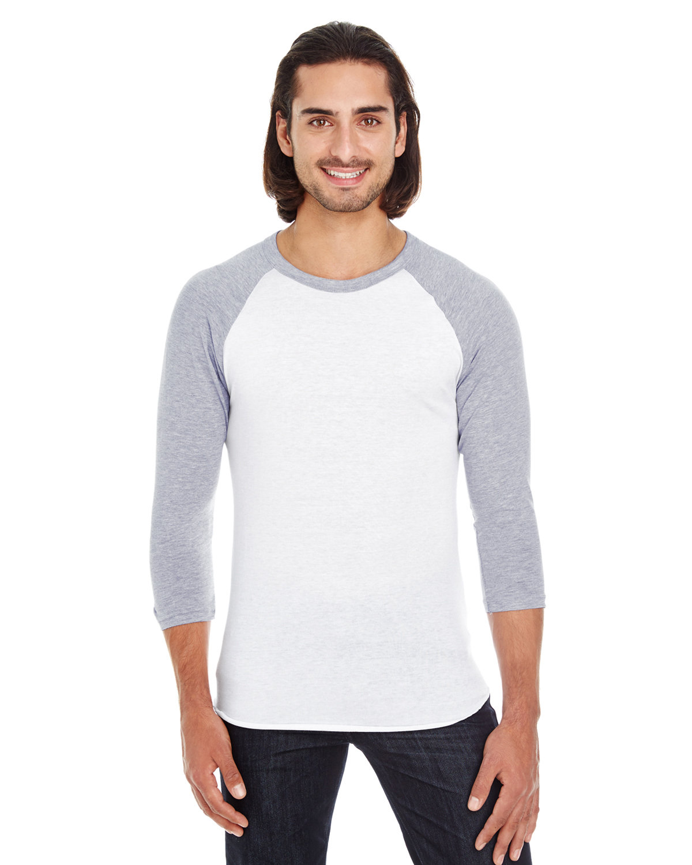 American Apparel Unisex Poly-Cotton 3/4-Sleeve Raglan T-Shirt WHT/ HTHR GREY