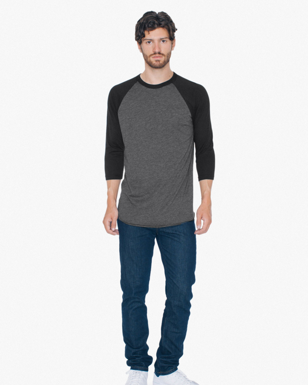 American Apparel Unisex Poly-Cotton 3/4-Sleeve Raglan T-Shirt HTHR BLACK/ BLK