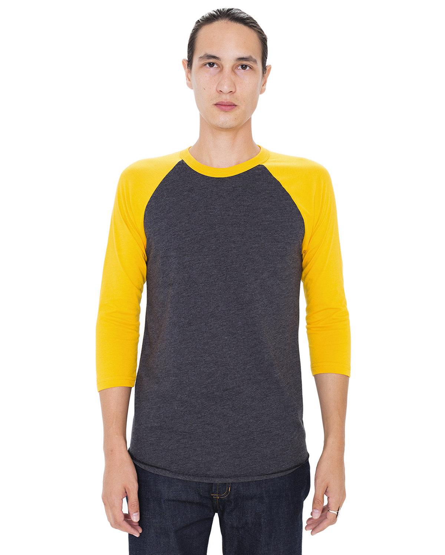 American Apparel Unisex Poly-Cotton 3/4-Sleeve Raglan T-Shirt HTH BLK/ GOLD