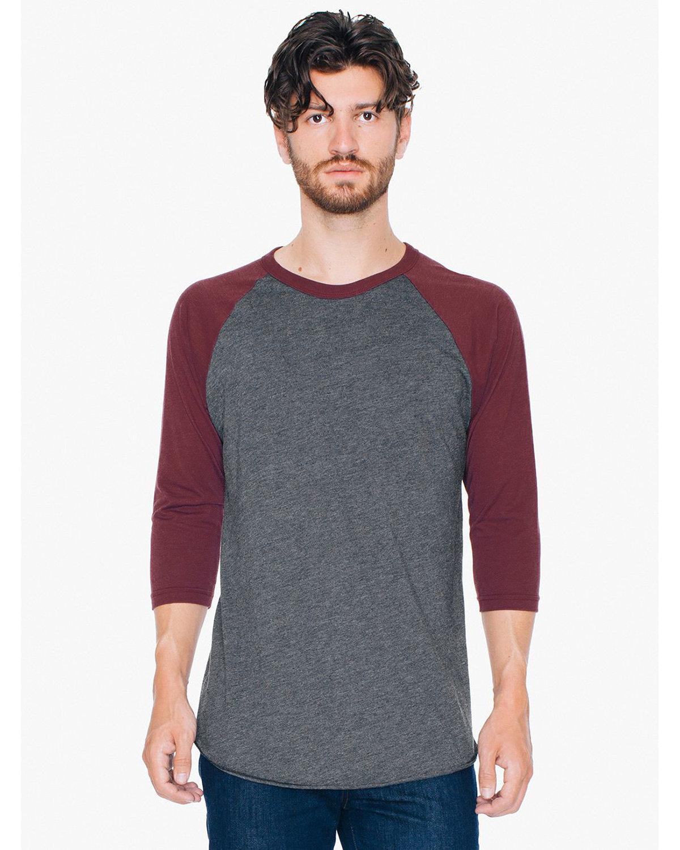 American Apparel Unisex Poly-Cotton 3/4-Sleeve Raglan T-Shirt HTH BLK/ TRUFFLE