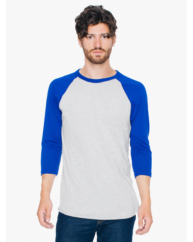 American Apparel Unisex Poly-Cotton 3/4-Sleeve Raglan T-Shirt HTHR GREY/ LAPIS