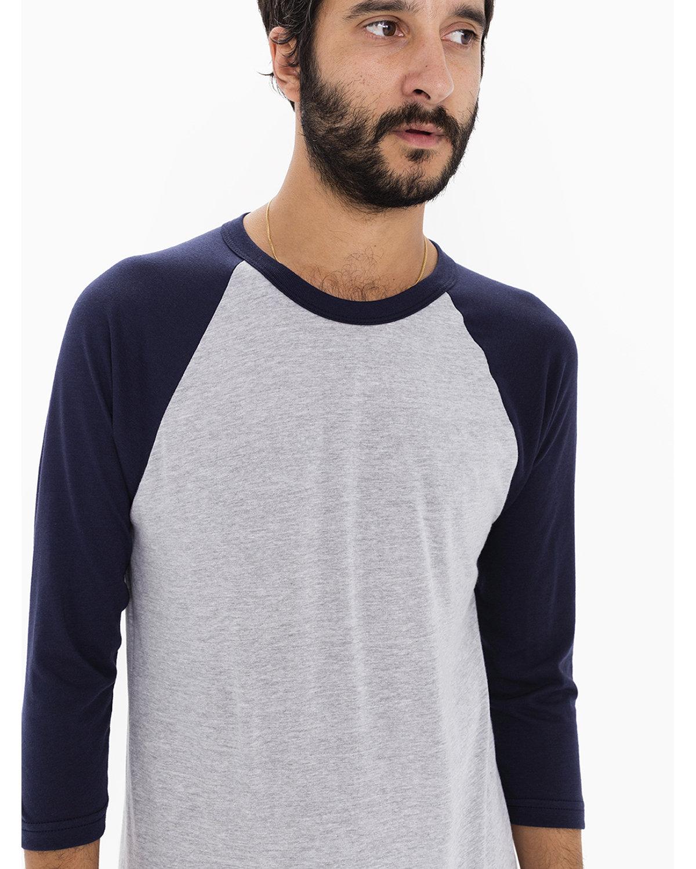 American Apparel Unisex Poly-Cotton 3/4-Sleeve Raglan T-Shirt HTHR GREY/ NAVY