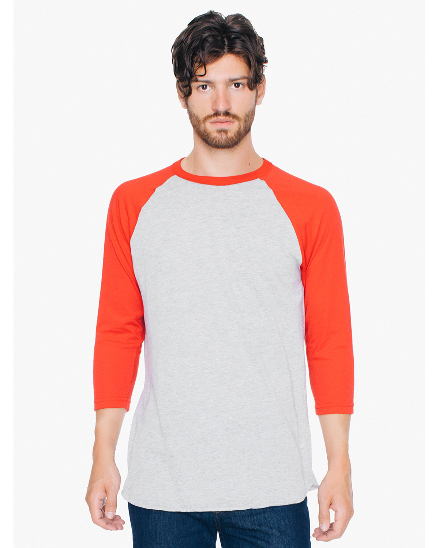 American Apparel Unisex Poly-Cotton 3/4-Sleeve Raglan T-Shirt HTHR GREY/ RED