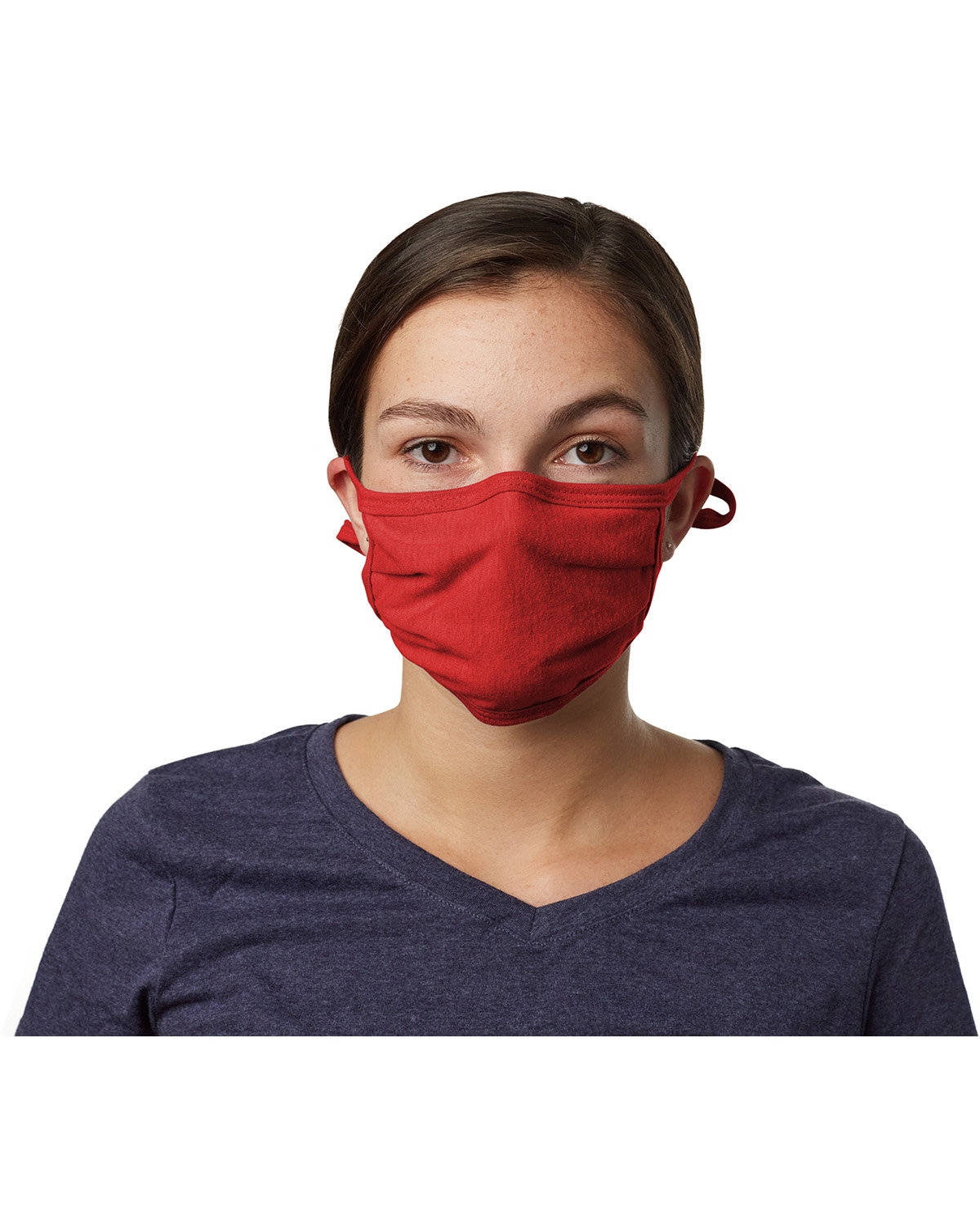 Hanes Adult 2-Ply Adjustable Mask DEEP RED