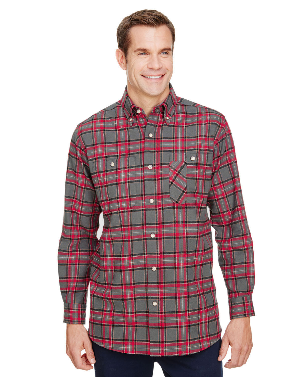 Backpacker Men's Yarn-Dyed Flannel Shirt RED GRAY