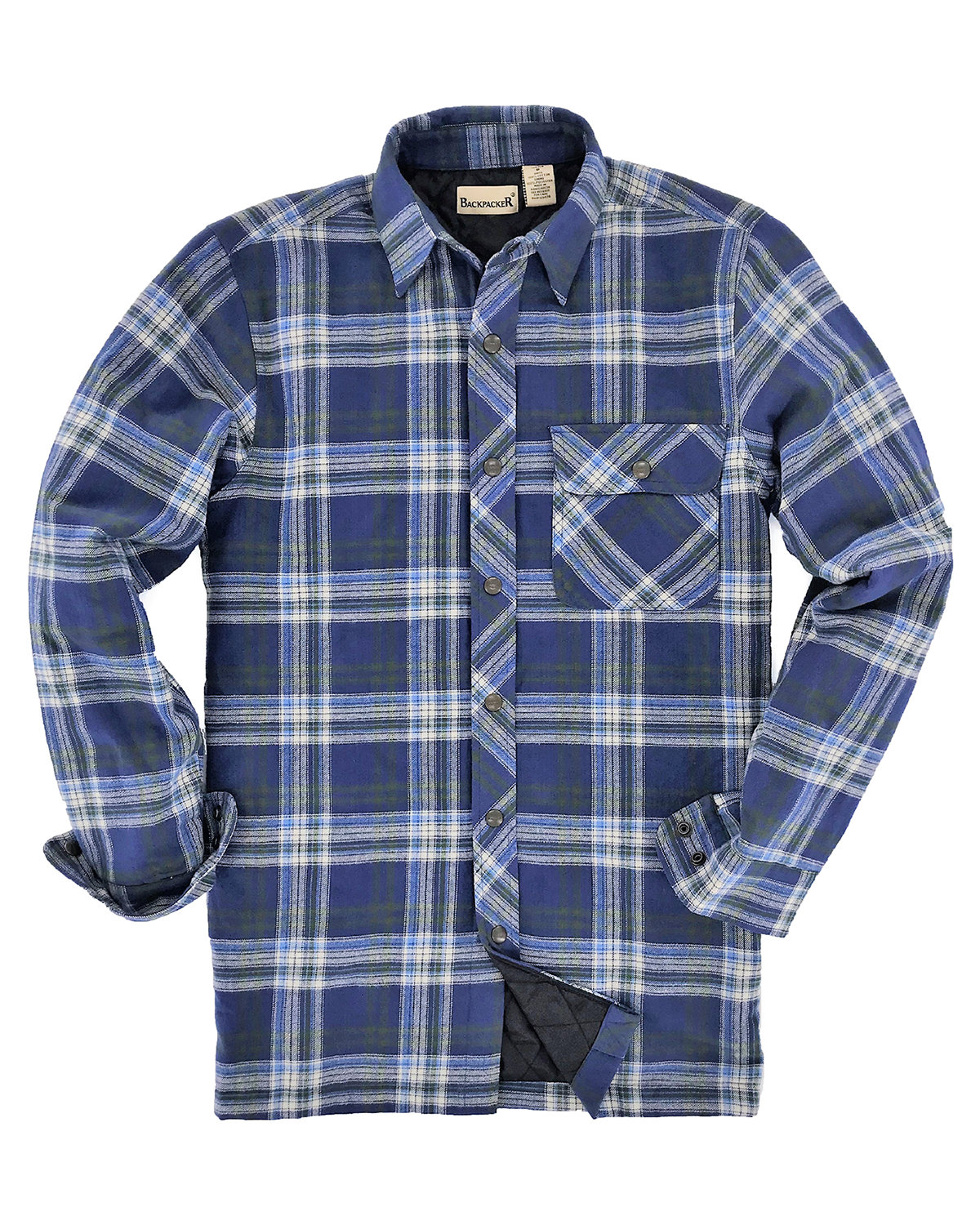 Backpacker Men's Flannel Shirt Jacket with Quilt Lining BLUE/ GREEN