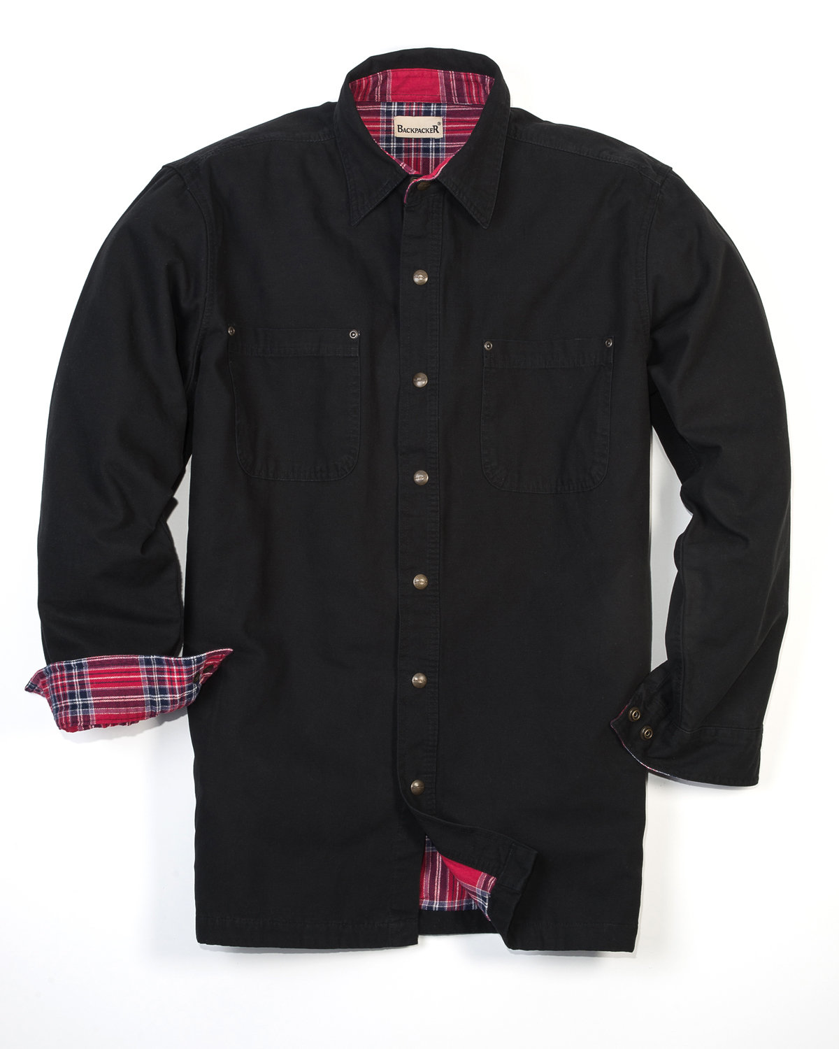Backpacker Men's Canvas Shirt Jacket with Flannel Lining BLACK