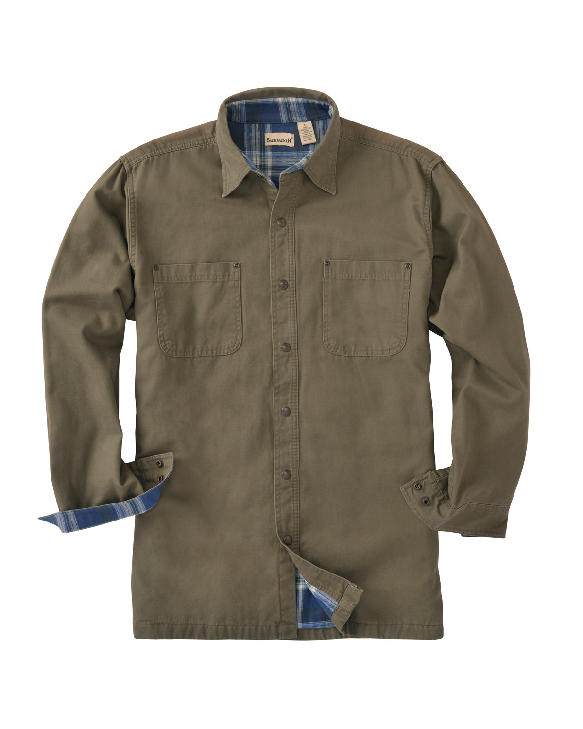 Backpacker Men's Canvas Shirt Jacket with Flannel Lining MOSS GREEN