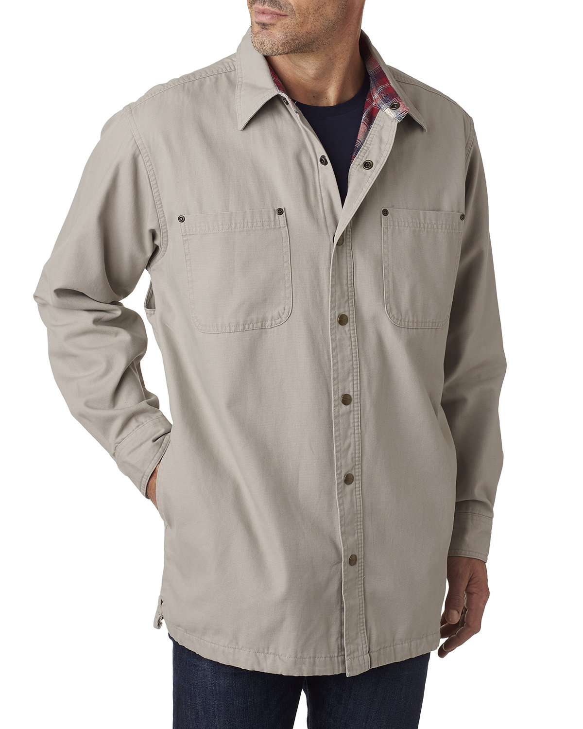 Backpacker Men's Tall Canvas Shirt Jacket with Flannel Lining STONE