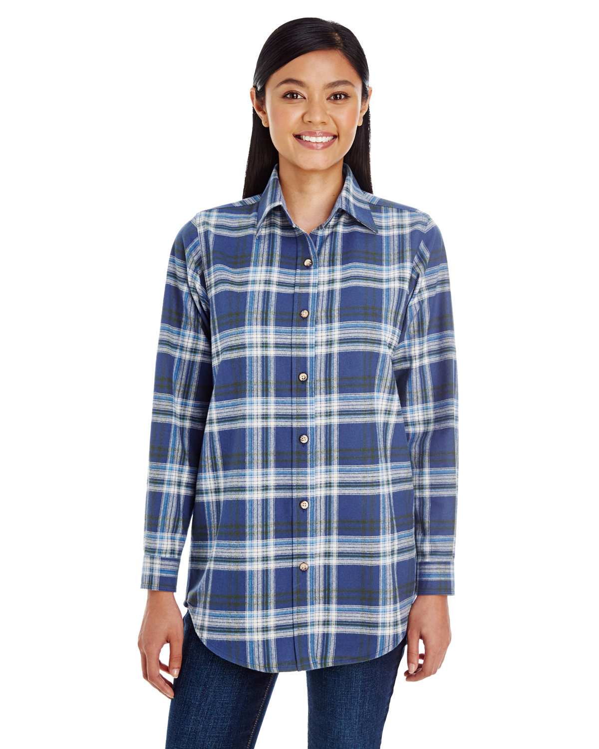 Backpacker Ladies' Yarn-Dyed Flannel Shirt BLUE/ GREEN