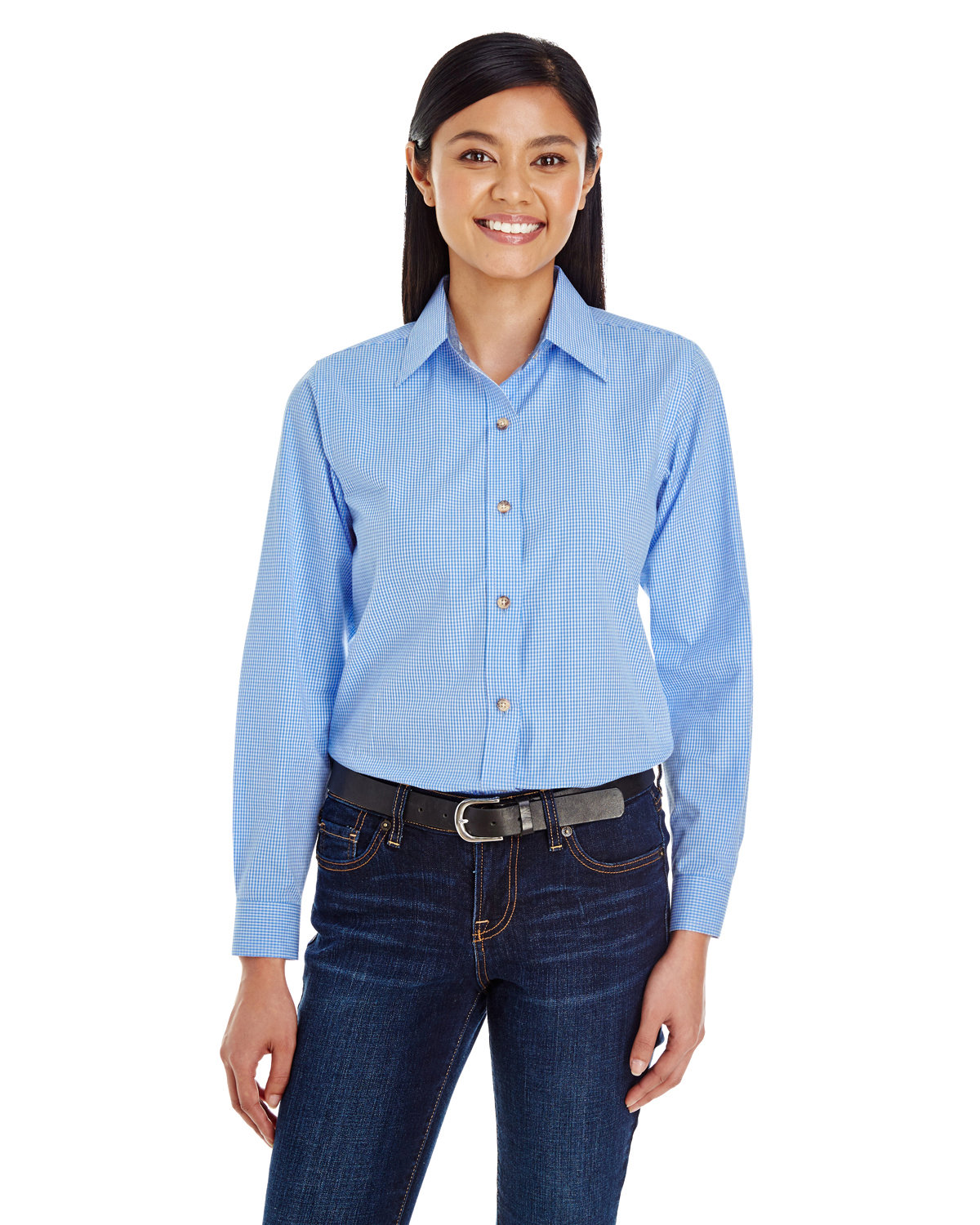 Backpacker Ladies' Yarn-Dyed Micro-Check Woven LIGHT BLUE