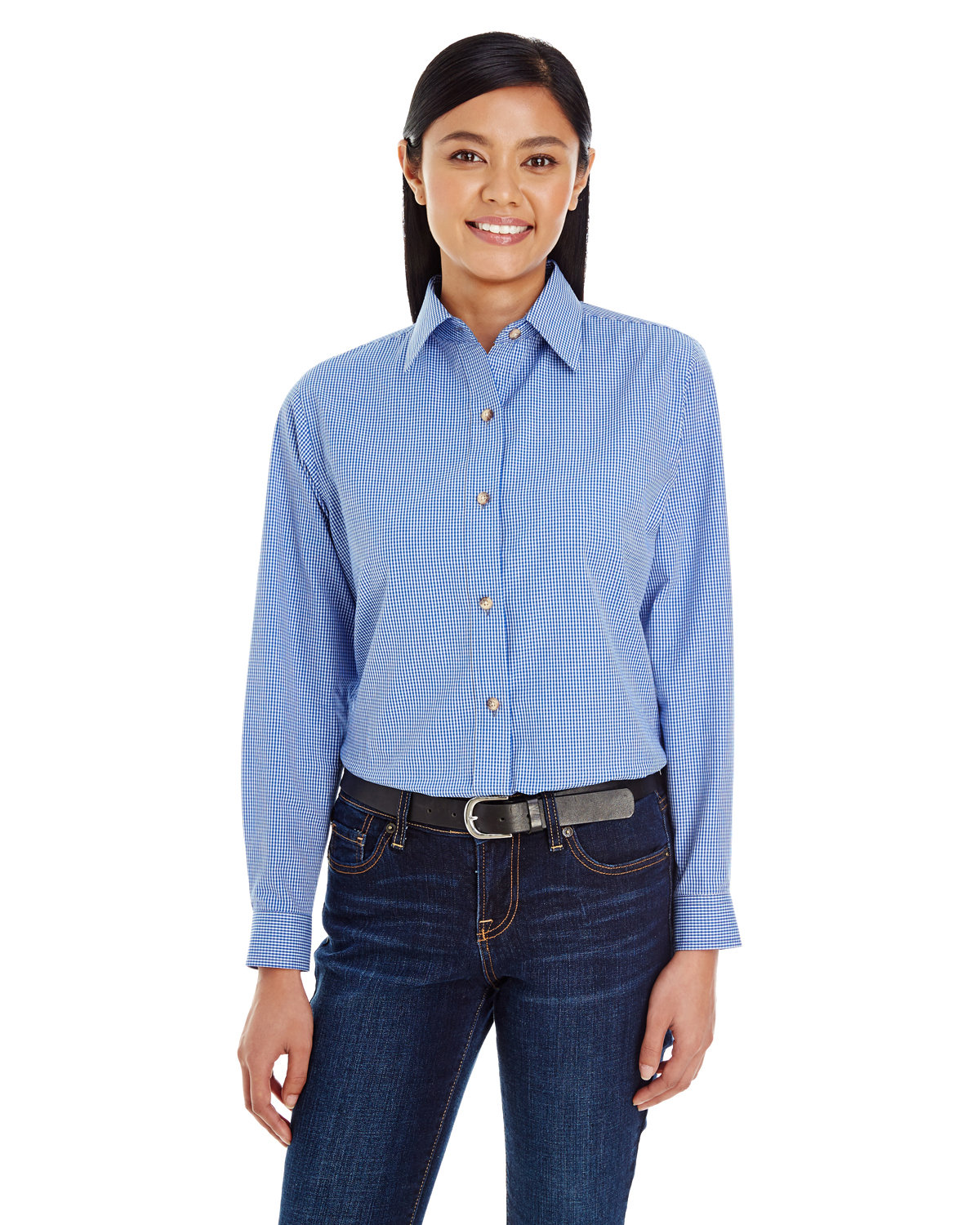 Backpacker Ladies' Yarn-Dyed Micro-Check Woven FRENCH BLUE