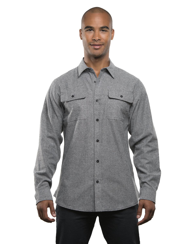 Burnside Men's Solid Flannel Shirt HEATHER GREY