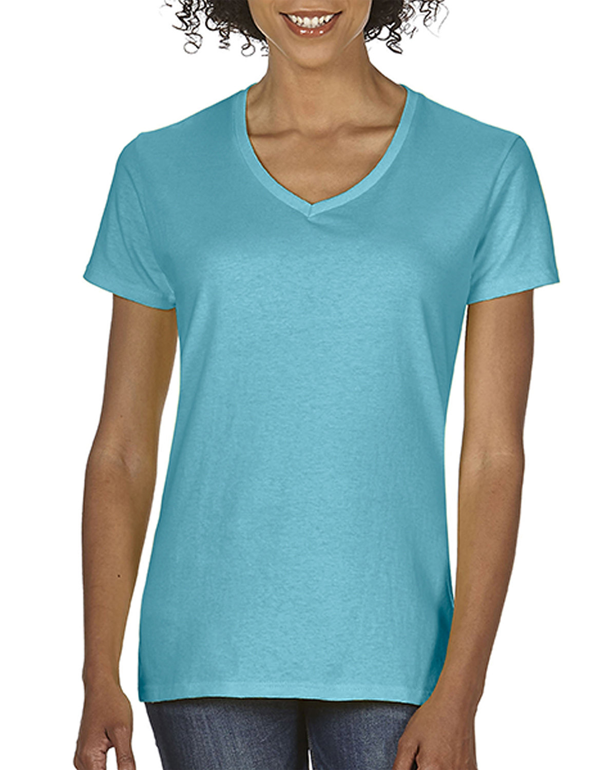 Comfort Colors Ladies' Midweight V-Neck T-Shirt LAGOON BLUE