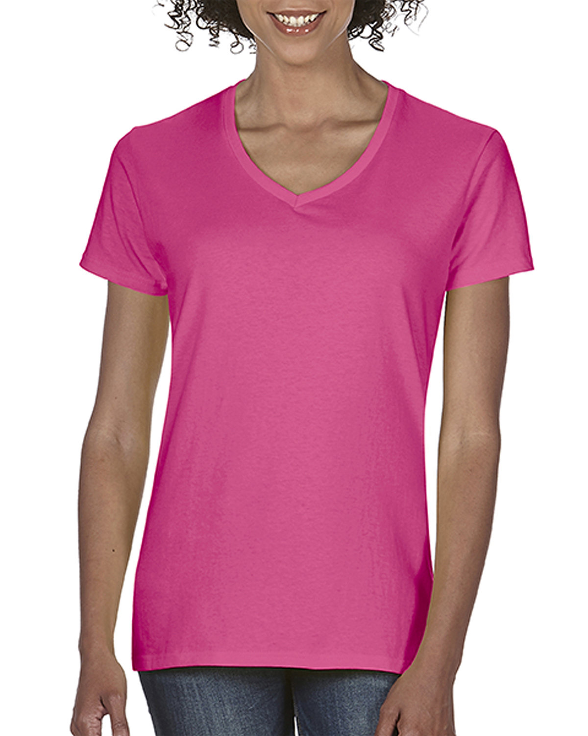 Comfort Colors Ladies' Midweight V-Neck T-Shirt NEON PINK