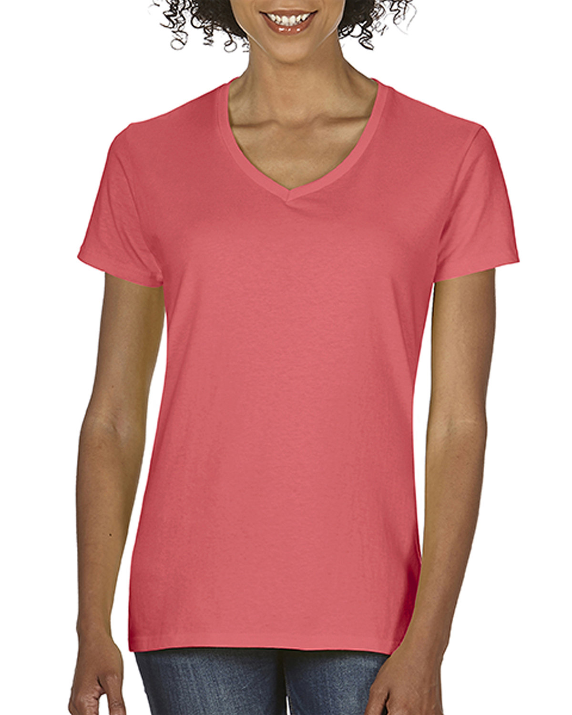 Comfort Colors Ladies' Midweight V-Neck T-Shirt NEON RED ORANGE