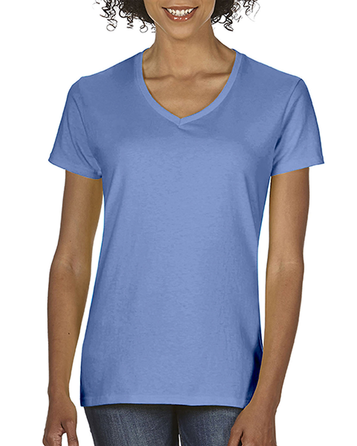 Comfort Colors Ladies'  Midweight RS V-Neck T-Shirt FLO BLUE