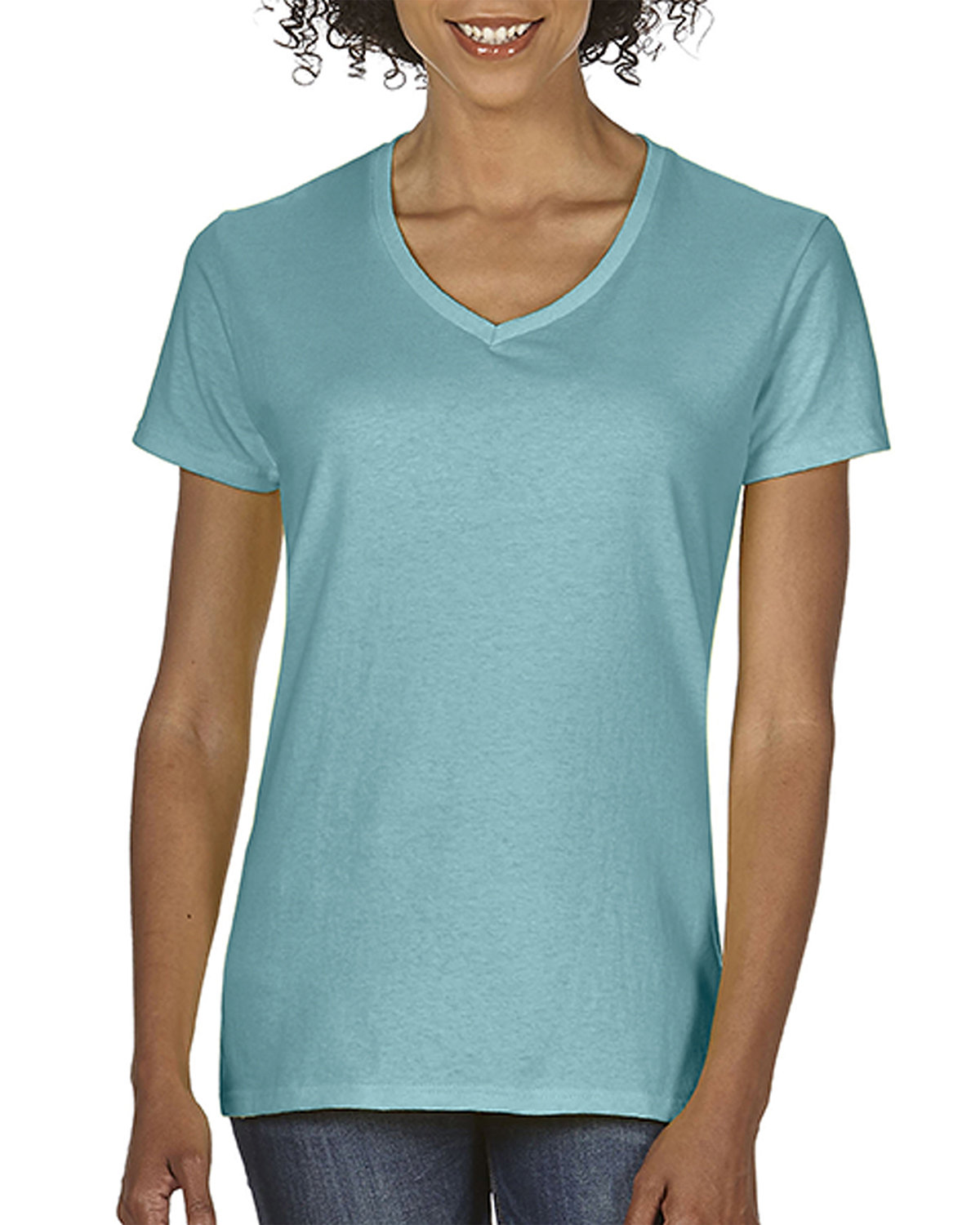 Comfort Colors Ladies' Midweight V-Neck T-Shirt CHALKY MINT