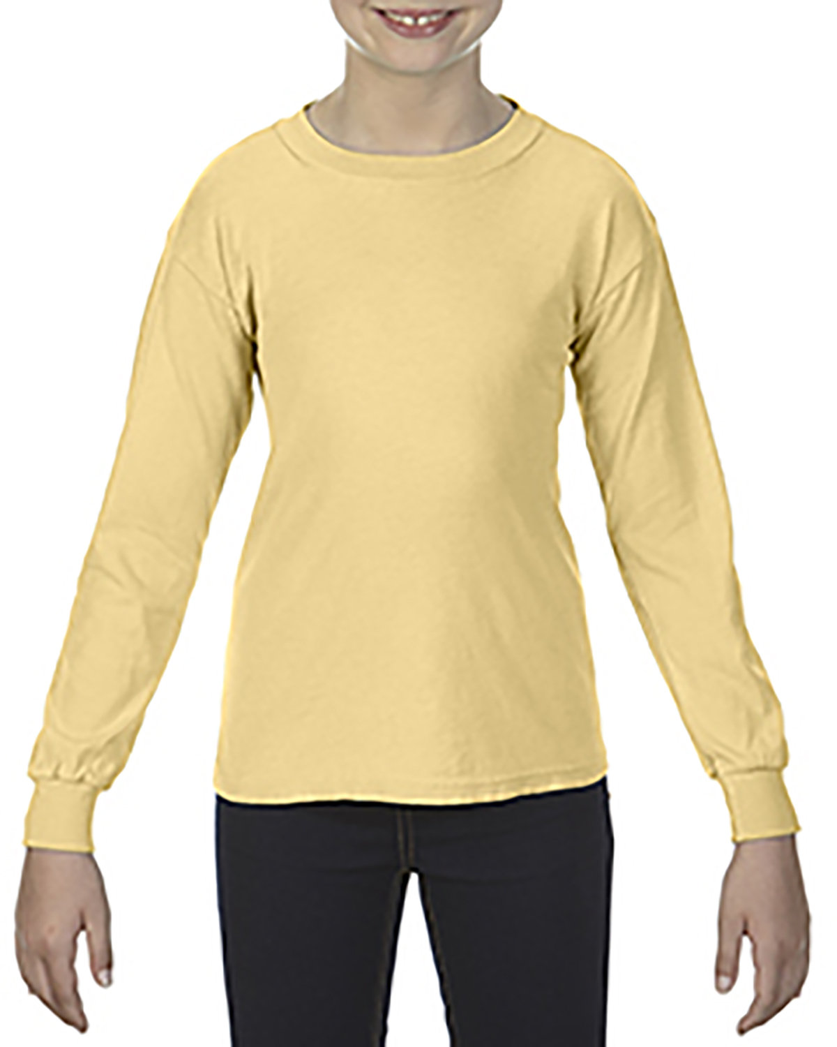 Comfort Colors Youth Garment-Dyed Long-Sleeve T-Shirt BUTTER