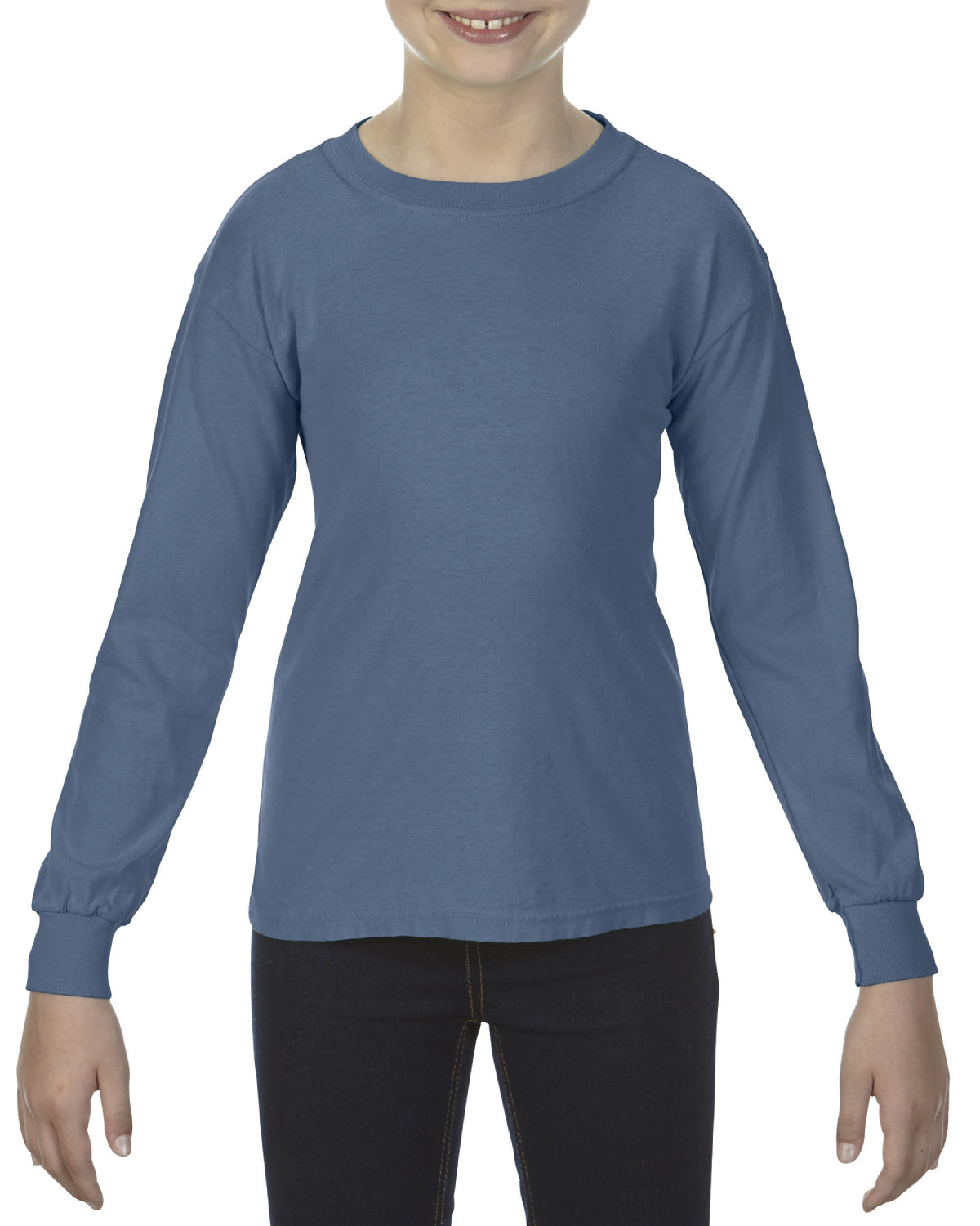 Comfort Colors Youth Garment-Dyed Long-Sleeve T-Shirt BLUE JEAN