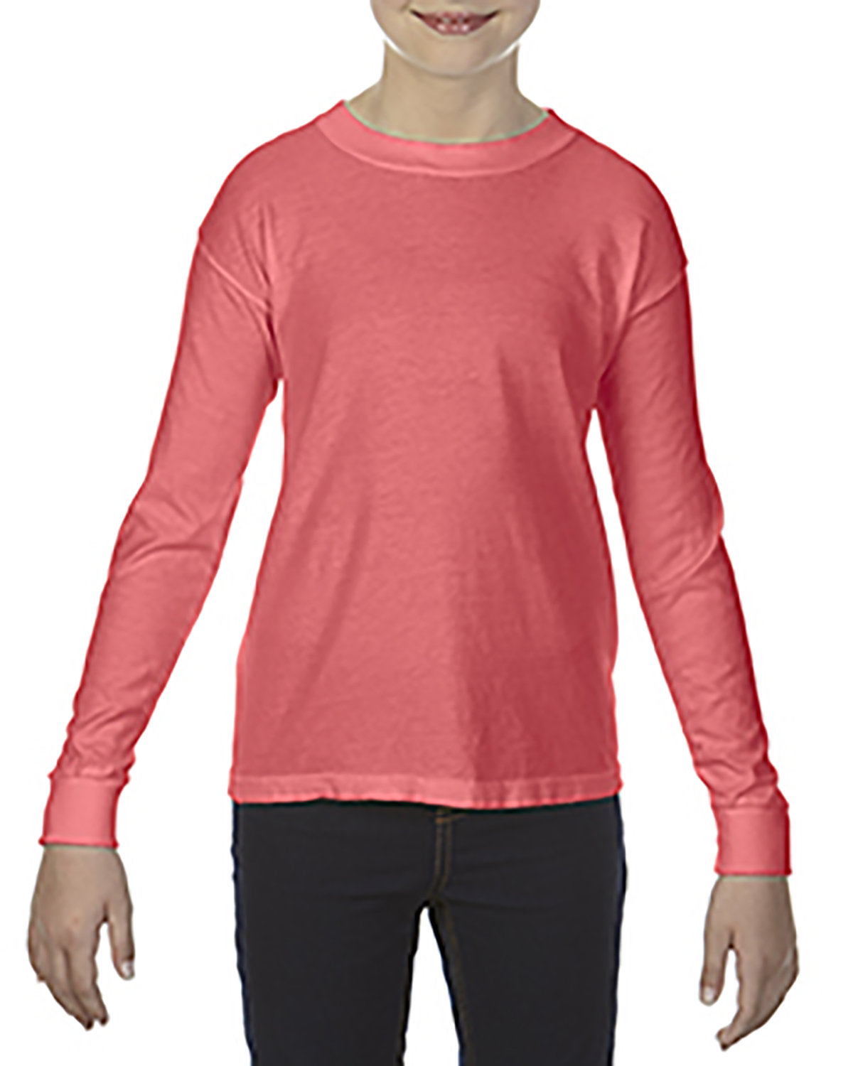 Comfort Colors Youth Garment-Dyed Long-Sleeve T-Shirt NEON RED ORANGE