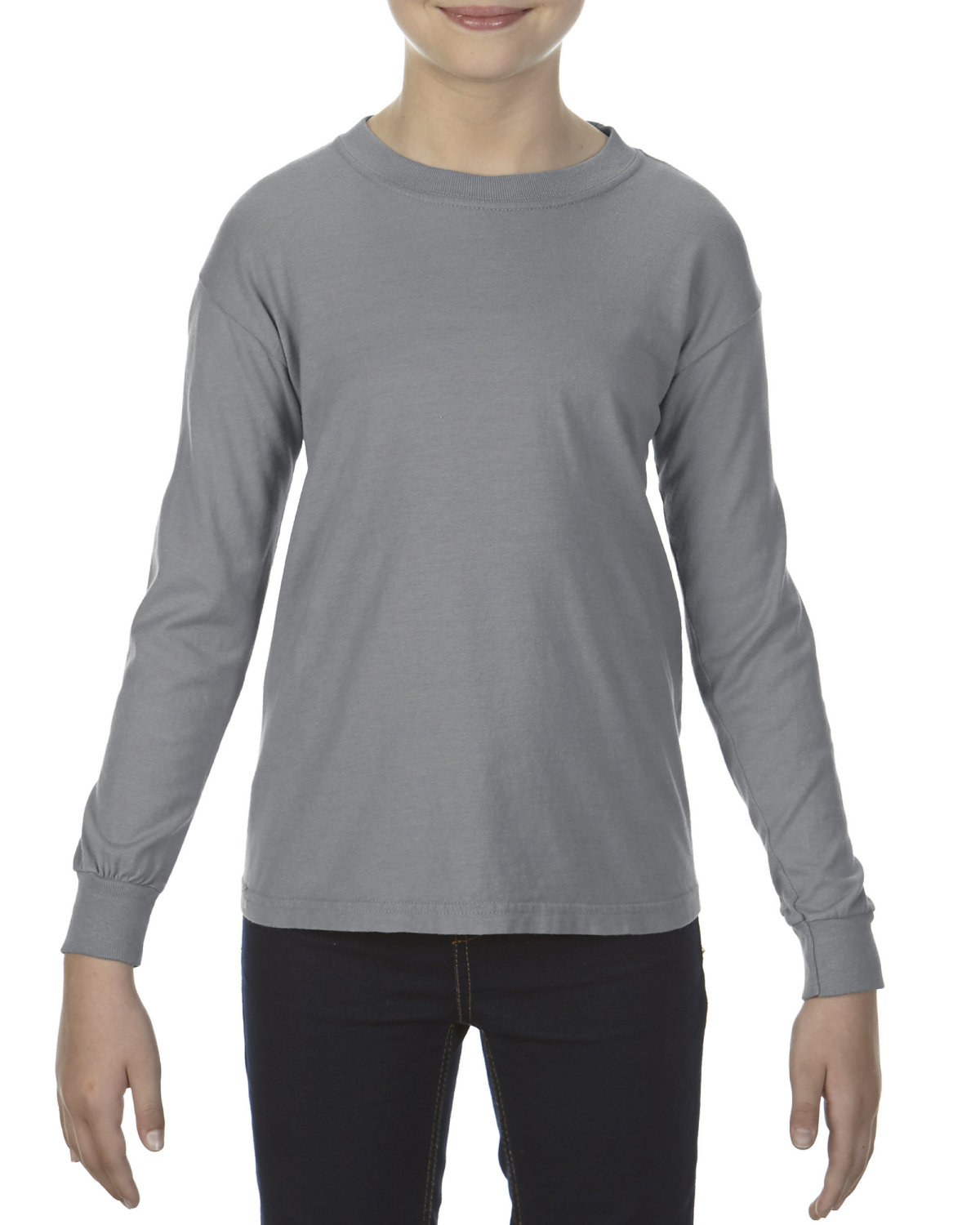 Comfort Colors Youth Garment-Dyed Long-Sleeve T-Shirt GRANITE