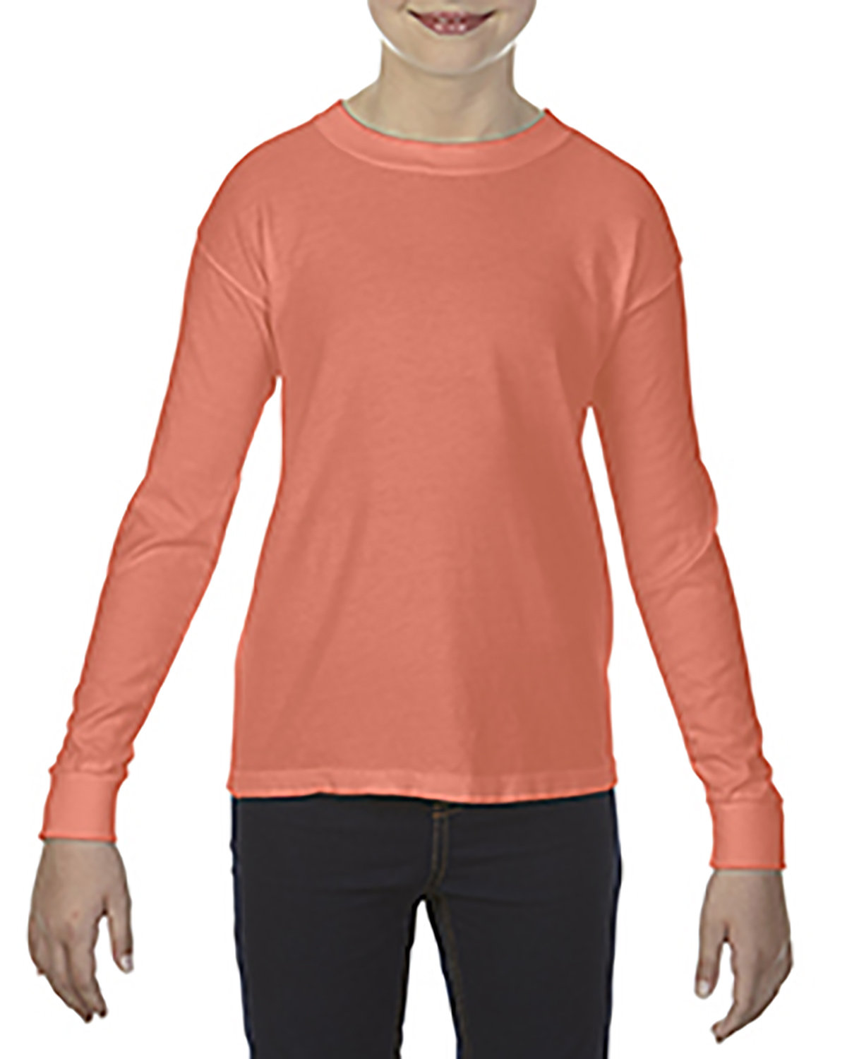 Comfort Colors Youth Garment-Dyed Long-Sleeve T-Shirt BRIGHT SALMON