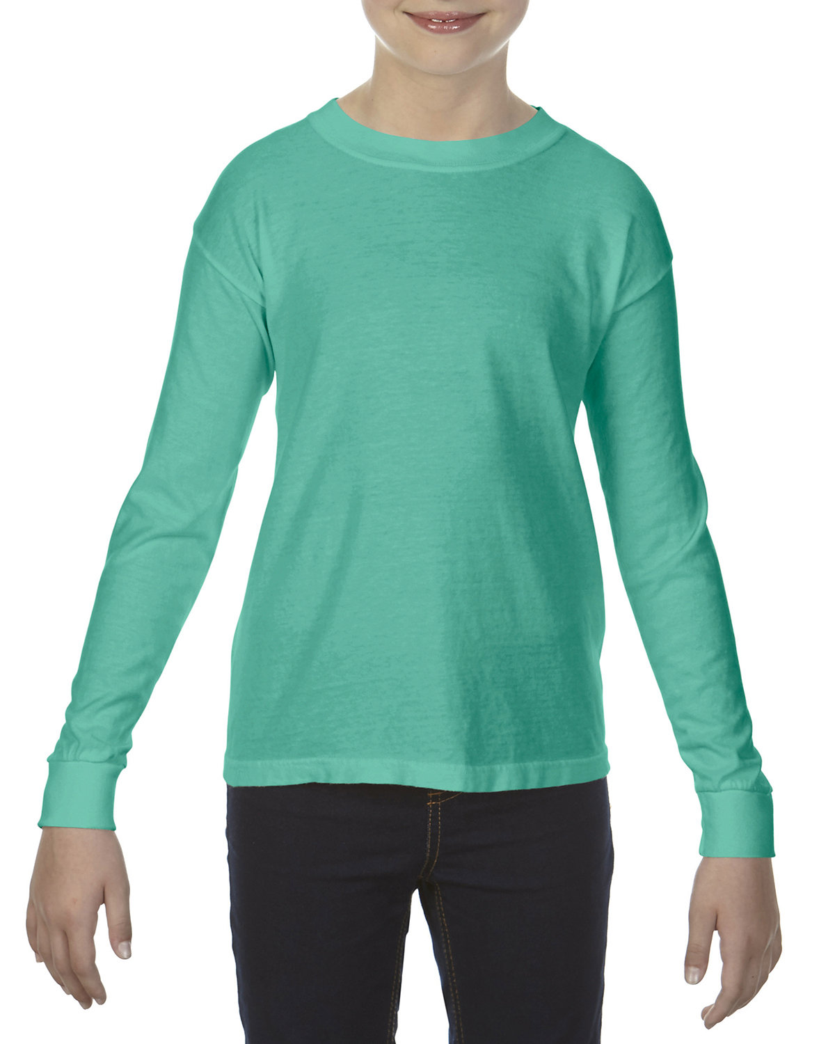 Comfort Colors Youth Garment-Dyed Long-Sleeve T-Shirt ISLAND GREEN