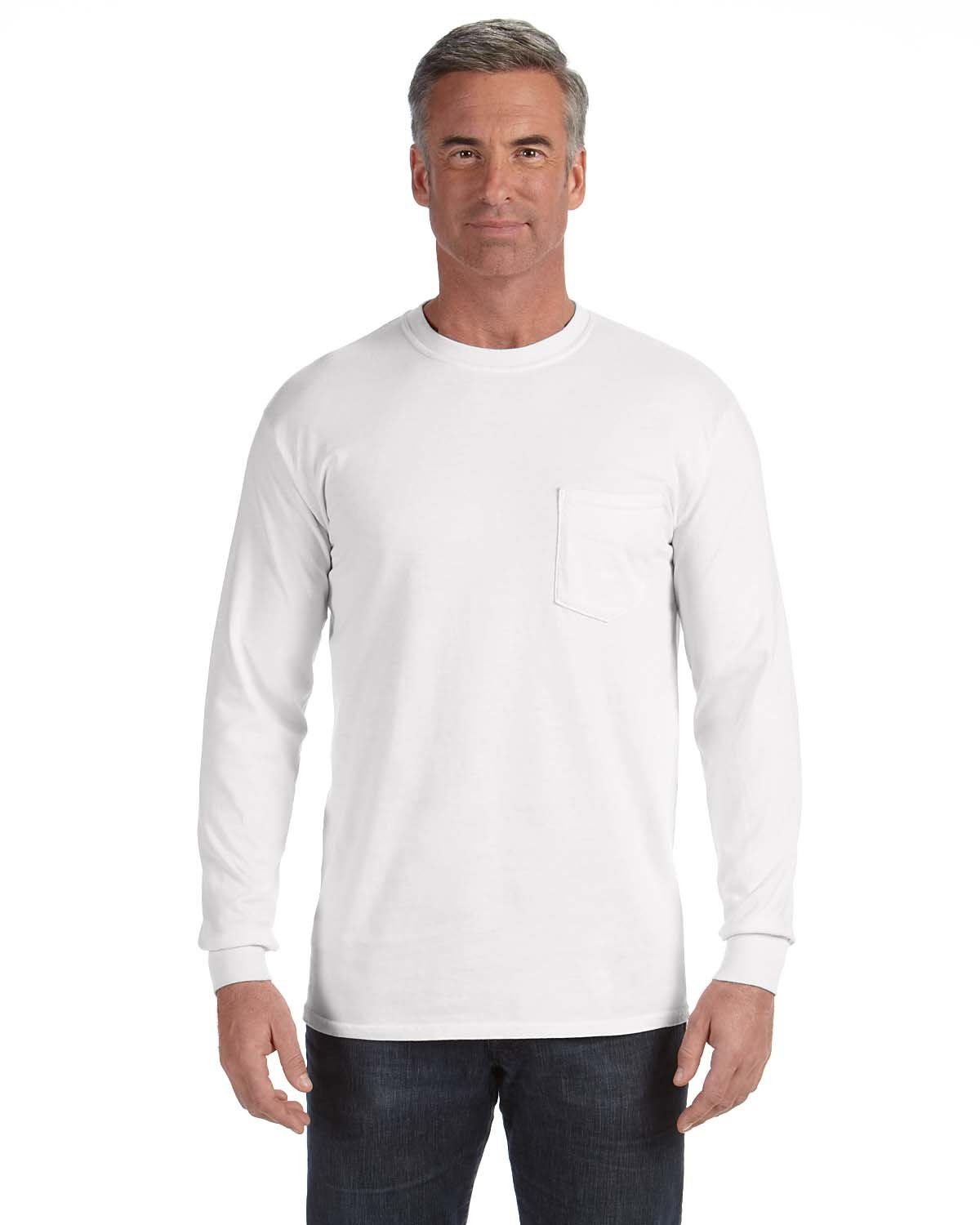 Comfort Colors Adult Heavyweight RS Long-Sleeve Pocket T-Shirt WHITE