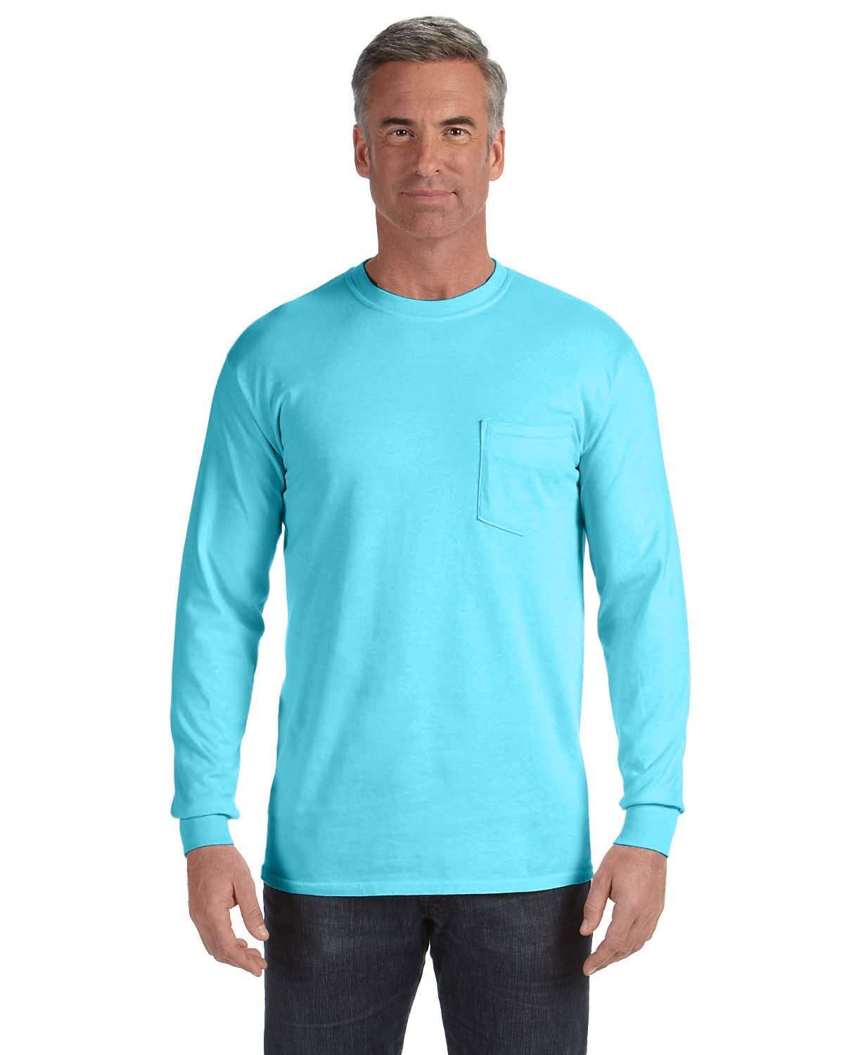 Comfort Colors Adult Heavyweight RS Long-Sleeve Pocket T-Shirt LAGOON BLUE