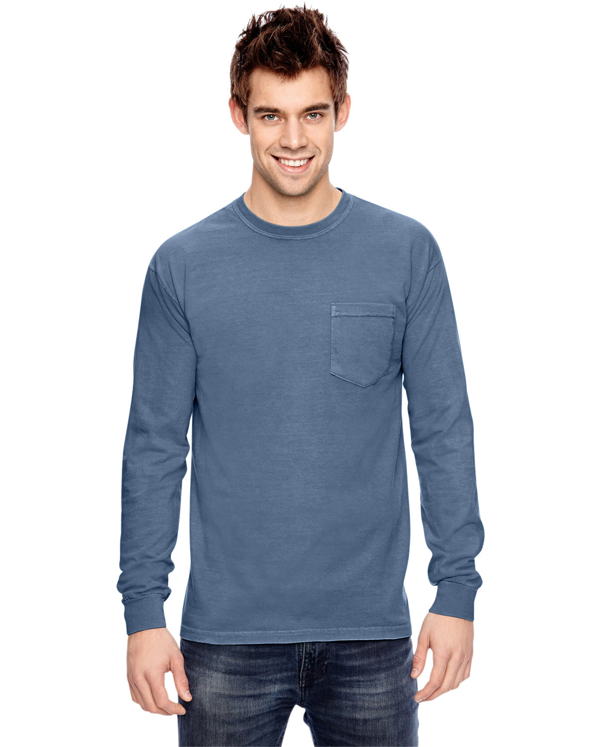 Comfort Colors Adult Heavyweight RS Long-Sleeve Pocket T-Shirt BLUE JEAN