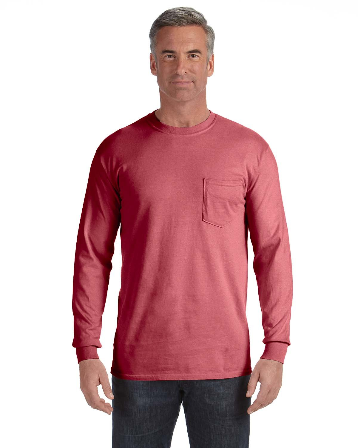 Comfort Colors Adult Heavyweight RS Long-Sleeve Pocket T-Shirt CRIMSON