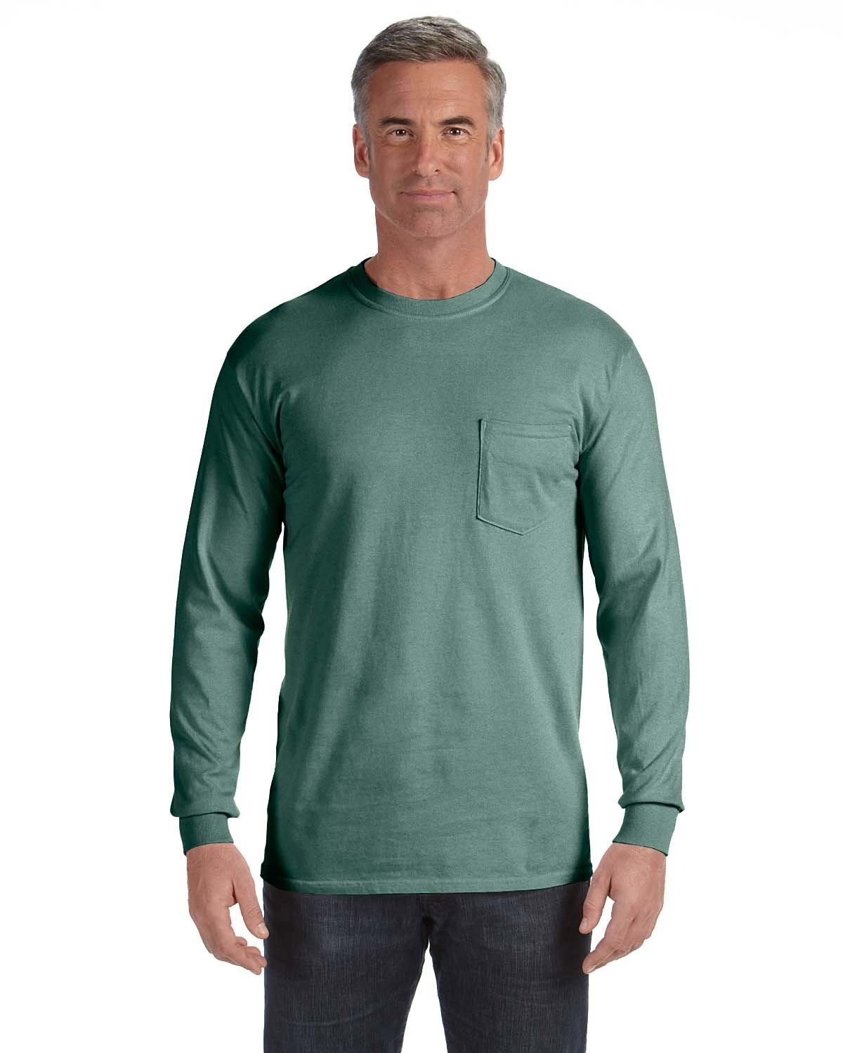 Comfort Colors Adult Heavyweight RS Long-Sleeve Pocket T-Shirt LIGHT GREEN