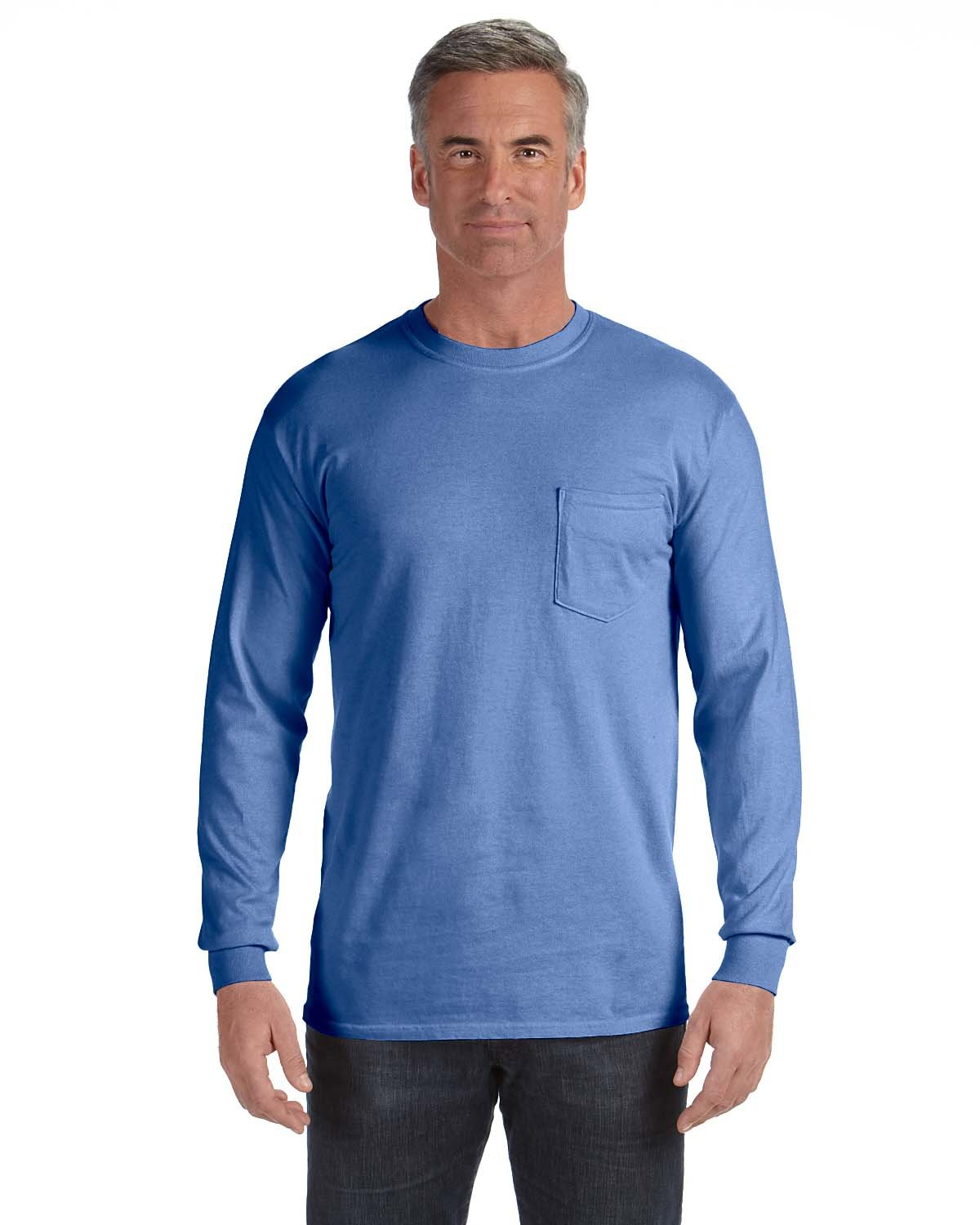 Comfort Colors Adult Heavyweight RS Long-Sleeve Pocket T-Shirt FLO BLUE