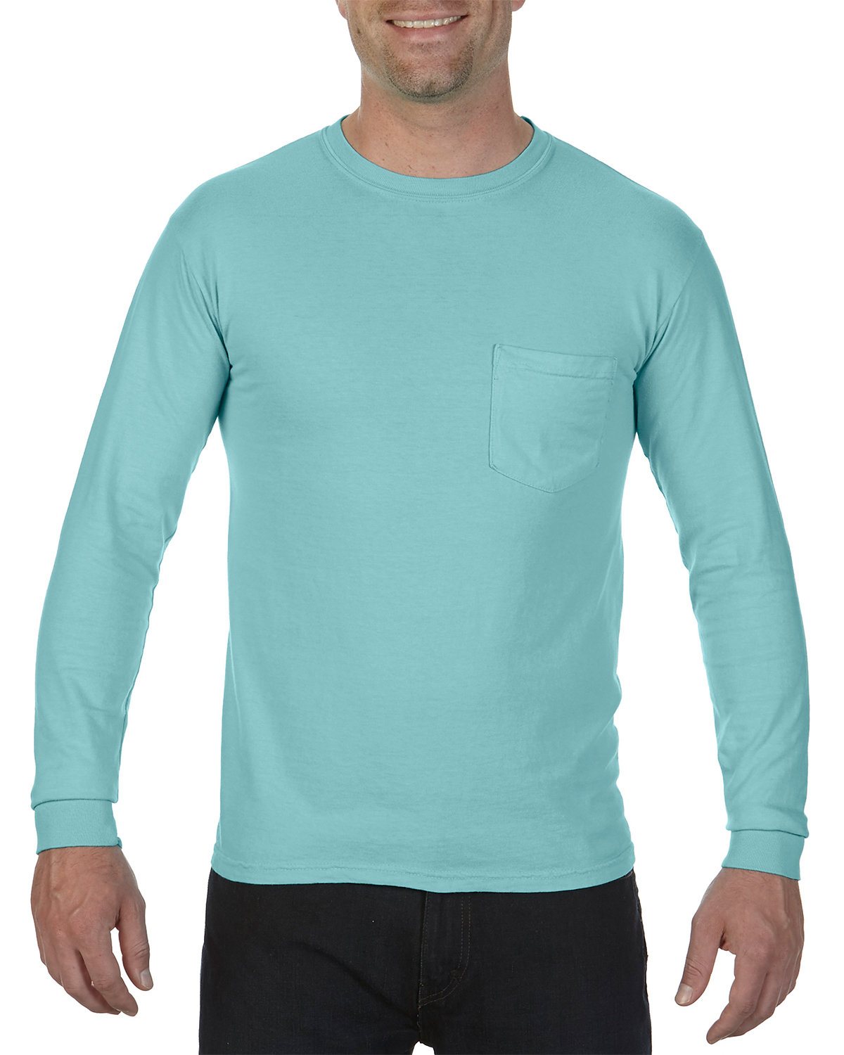 Comfort Colors Adult Heavyweight RS Long-Sleeve Pocket T-Shirt CHALKY MINT