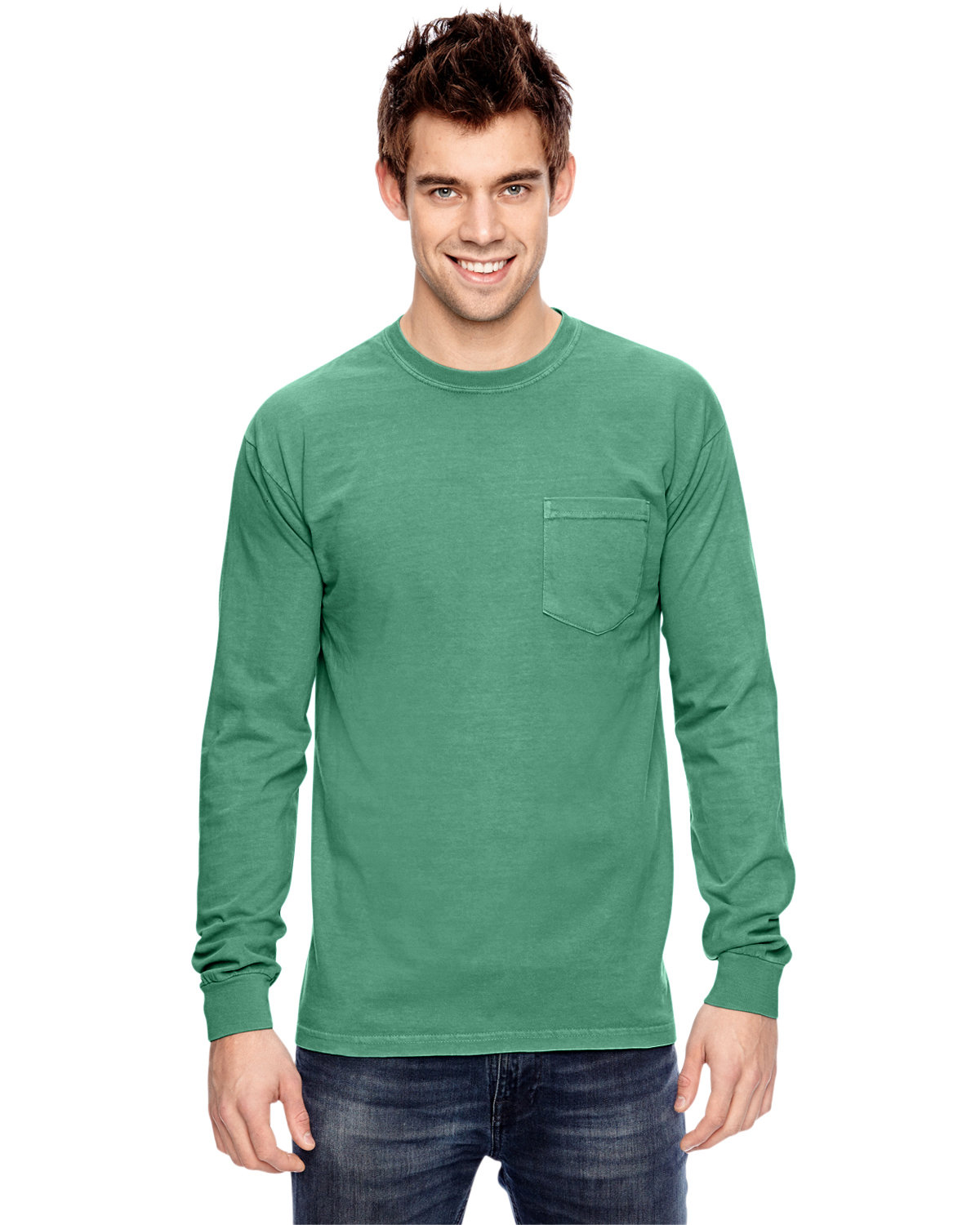 Comfort Colors Adult Heavyweight RS Long-Sleeve Pocket T-Shirt ISLAND GREEN