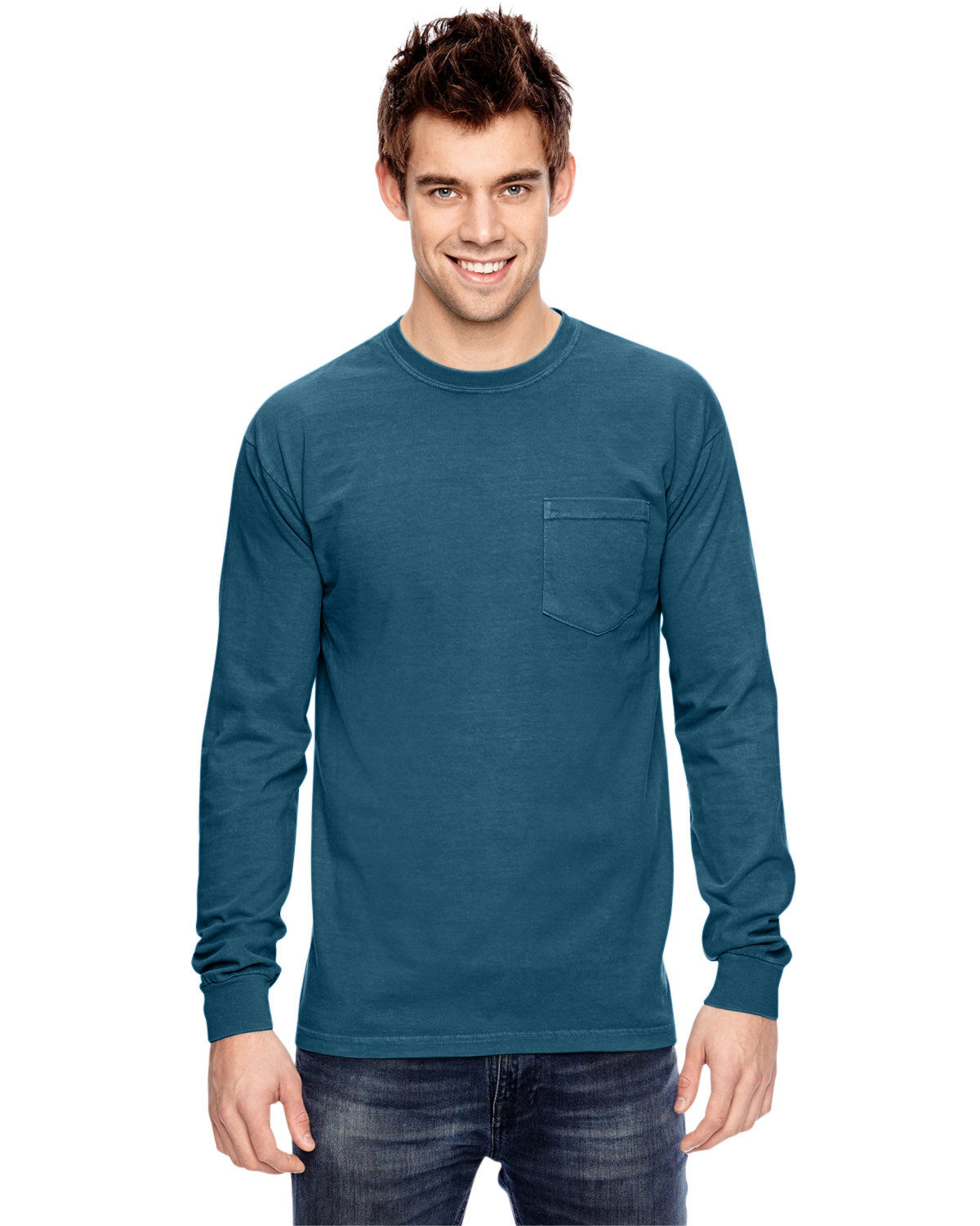 Comfort Colors Adult Heavyweight RS Long-Sleeve Pocket T-Shirt TOPAZ BLUE
