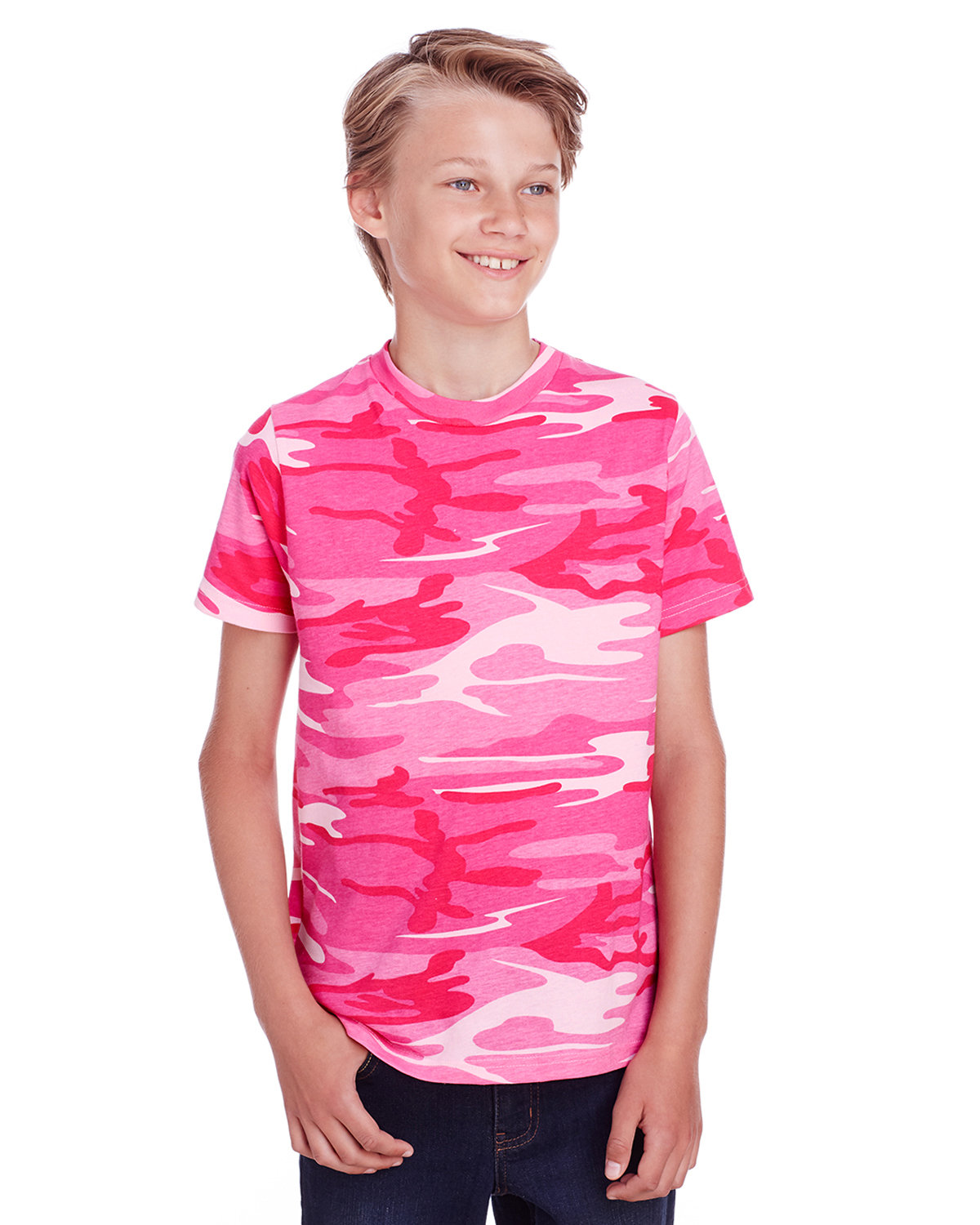 Code Five Youth Camo T-Shirt PINK WOODLAND