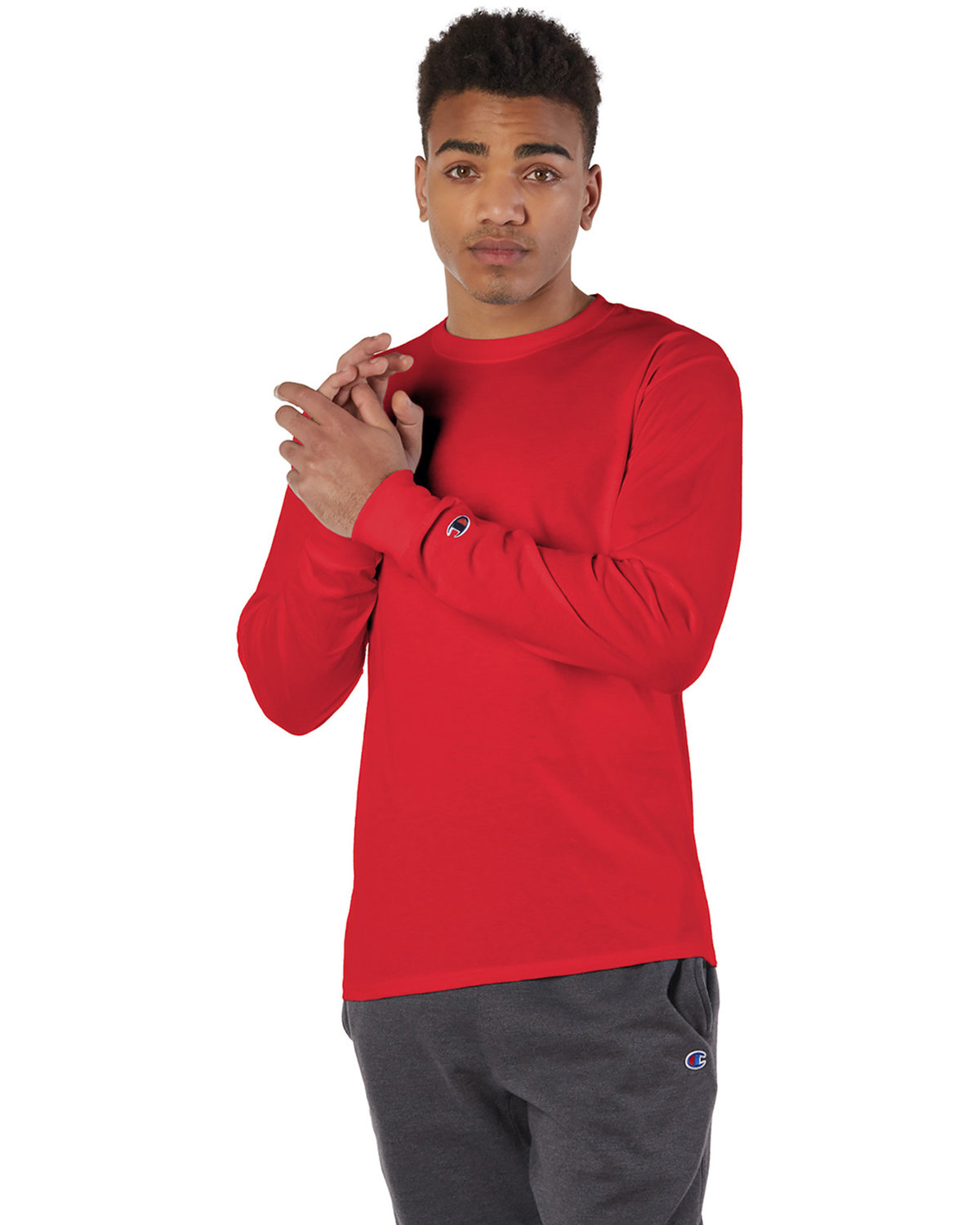 Champion Adult Long-Sleeve T-Shirt RED