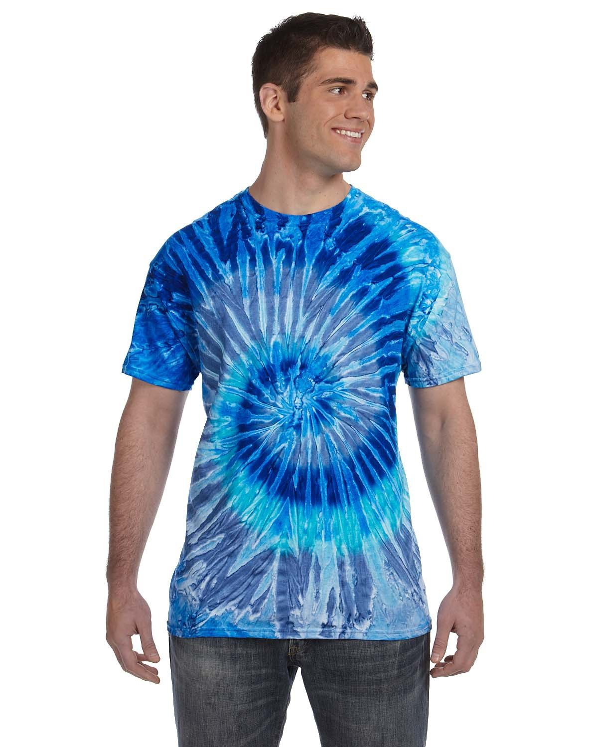 Tie-Dye Adult 5.4 oz., 100% Cotton T-Shirt BLUE JERRY