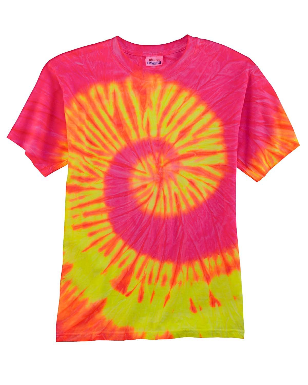 Tie-Dye Adult 5.4 oz., 100% Cotton T-Shirt FLUORESCENT SWRL