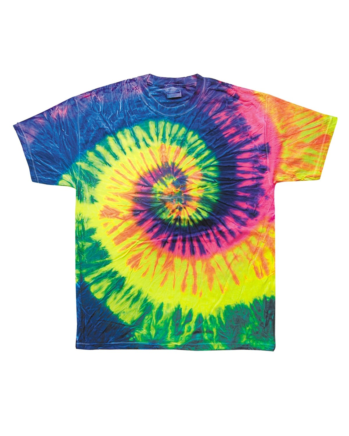 Tie-Dye Adult 5.4 oz., 100% Cotton T-Shirt NEON RAINBOW