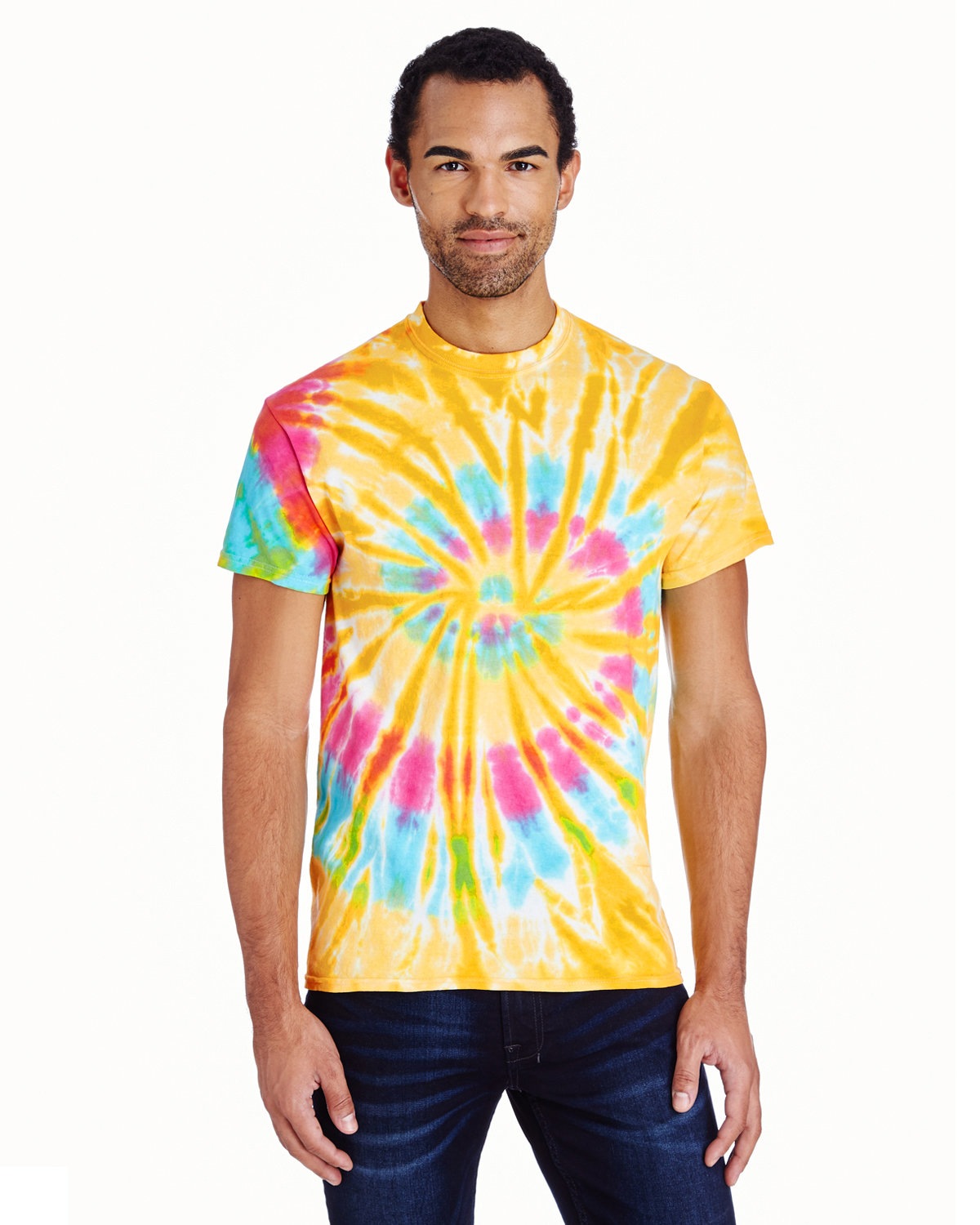 Tie-Dye Adult 5.4 oz., 100% Cotton T-Shirt AURORA