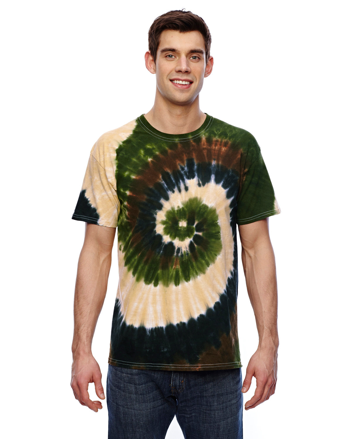 Tie-Dye Adult 5.4 oz., 100% Cotton T-Shirt CAMO SWIRL