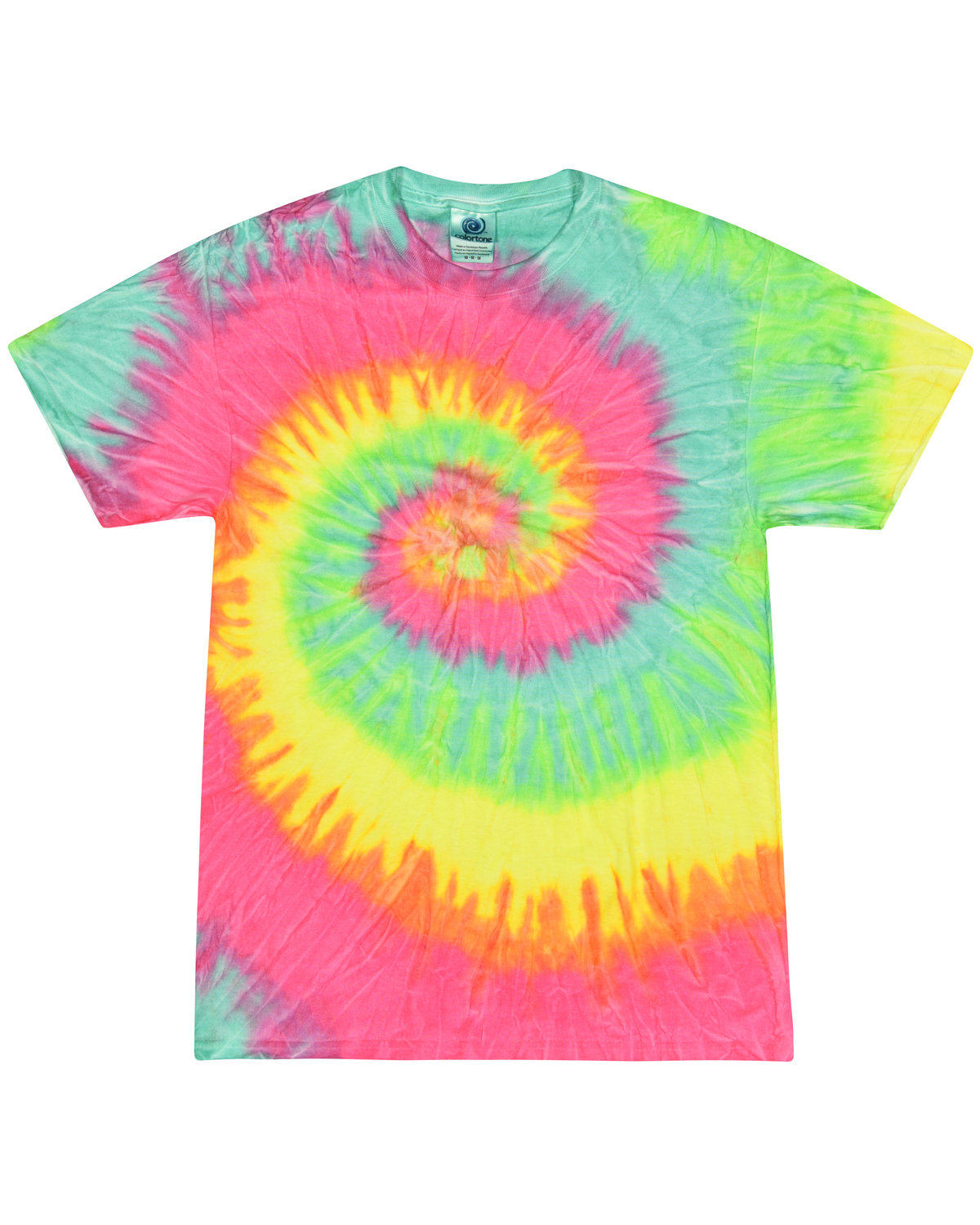 Tie-Dye Adult 5.4 oz., 100% Cotton T-Shirt MINTY RAINBOW