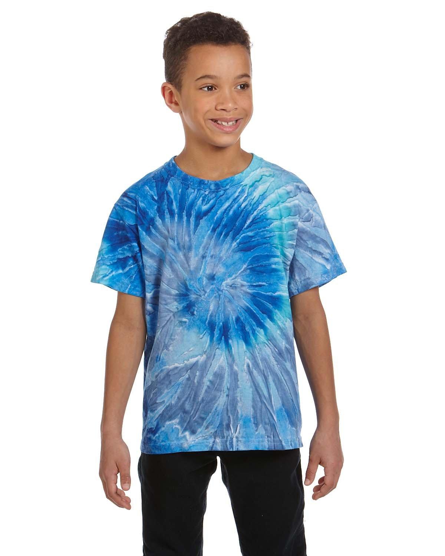 Tie-Dye Youth 5.4 oz. 100% Cotton T-Shirt BLUE JERRY